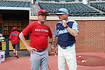 CHAPEL HILL, NC - FEBRUARY 21: Saint John's head coach Ed Blankmeyer and UNC head coach Mike Fox. The University of North Carolina Tar heels hosted the Saint John's University Red Storm on February 21, 2018, at Boshamer Stadium in Chapel Hill, NC in a Division I College Baseball game. St John's won the game 5-2.