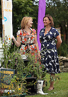 Pictured: Maria Golightly (L) Saturday 13 August 2016<br />Re: Grow Wild event at  Furnace to Flowers site in Ebbw Vale, Wales, UK