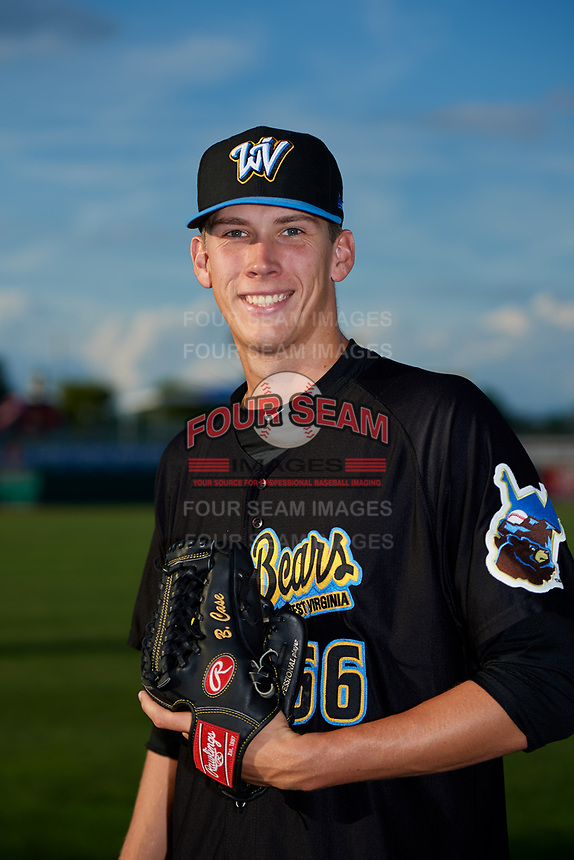 West Virginia Black Bears pitcher Brad Case (66) poses for a photo before a game against the State College Spikes on August 30, 2018 at Medlar Field at Lubrano Park in State College, Pennsylvania.  West Virginia defeated State College 5-3.  (Mike Janes/Four Seam Images)