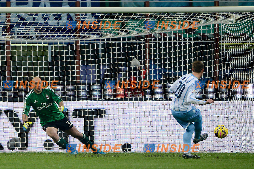 Gol di Lucas Biglia Lazio 0-1 Rigore. Celebration goal<br />  Penalty Milano 27-01-2015 Stadio Giuseppe Meazza - Football Calcio Coppa Italia Milan - Lazio. Foto Giuseppe Celeste / Insidefoto