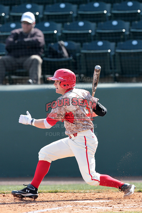 Charlie White #3 of the Maryland Terrapins bats against the UCLA Bruins at Jackie Robinson Stadium on February 19, 2012 in Los Angeles,California. Maryland defeated UCLA 5-1.(Larry Goren/Four Seam Images)