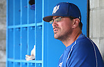 Western Nevada Assistant Coach Aaron Demosthenes works a game against College of Southern Nevada at Western Nevada College in Carson City, Nev. on Friday, May 6, 2016. <br />Photo by Cathleen Allison/Nevada Photo Source