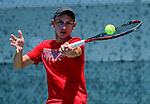 SURPRISE, AZ - MAY 12: Daniel Ventura of the Barry Buccaneer returns a ball against Matei Avram of the Columbus State during the Division II Men's Tennis Championship held at the Surprise Tennis & Racquet Club on May 12, 2018 in Surprise, Arizona. (Photo by Jack Dempsey/NCAA Photos via Getty Images)