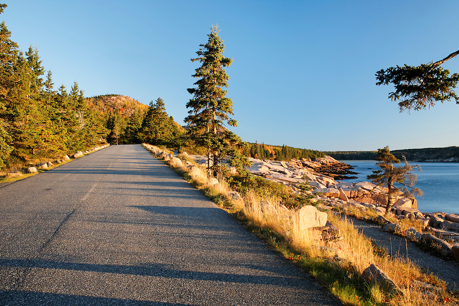 Park Loop Road along rocky shoreline, Frenchman Bay, Mount Desert Island, Acadia National Park, Hancock County, Maine, USA