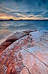 Sunset on Warm Creek Bay on Lake Powell in the Glen Canyon National Recreation Area on the Arizona/Utah border