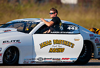 Oct 19, 2019; Ennis, TX, USA; NHRA pro stock driver Aaron Stanfield during qualifying for the Fall Nationals at the Texas Motorplex. Mandatory Credit: Mark J. Rebilas-USA TODAY Sports