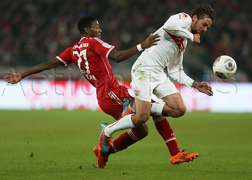29.01.2014 Stuttgart, Germany.  David Alaba against Martin Harnik during the Bundesliga game between VfB Stuttgart v Bayern Munich from the Gottlieb Daimler Stadion.