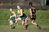 Taine McQoid makes a midfield run during the Counties Manukau Premier Club Rugby game between Bombay and Pukekohe, played at Bombay on Saturday June 30th 2018.<br /> Bombay won the game 24 - 14 after leading 24 - 0 at halftime.<br /> Bombay 24 - Sepuloni Taufa, Tulele Masoe, Chay Mackwood, Liam Daniela tries, Ki Anufe 2 conversions.<br /> Pukekohe Mitre 10 Mega 14 - Joshua Baverstock, Gregor Christie tries; Cody White 2 conversions.<br /> Photo by Richard Spranger.