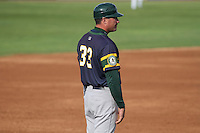 Beloit Snappers manager Fran Riordan (33) during a Midwest League game against the Wisconsin Timber Rattlers on May 30th, 2015 at Fox Cities Stadium in Appleton, Wisconsin. Wisconsin defeated Beloit 5-3 in the completion of a game originally started on May 29th before being suspended by rain with the score tied 3-3 in the sixth inning. (Brad Krause/Four Seam Images)