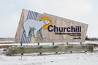 60595-01106 Churchill Wildlife Management Area sign in winter, Churchill MB Canada