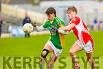 Seamus Lyne Castlegregory and Daniel Hanley Beara in action  during the Corn Sheain Uí Mhaolmhnaigh final in Fitzgerald Stadium on Saturday
