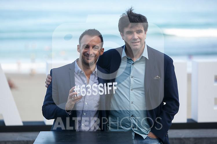Movie director Alejandro Amenabar poses with his producer during `Regression´ film presentation at 63rd Donostia Zinemaldia (San Sebastian International Film Festival) in San Sebastian, Spain. September XX, 2015. (ALTERPHOTOS/Victor Blanco)