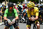 Green Jersey Peter Sagan (SVK) Bora-Hansgrohe and race leader Geraint Thomas (WAL) Team Sky Yellow Jersey before the start of Stage 15 of the 2018 Tour de France running 181.5km from Millau to Carcassonne, France. 22nd July 2018. <br /> Picture: ASO/Alex Broadway | Cyclefile<br /> All photos usage must carry mandatory copyright credit (&copy; Cyclefile | ASO/Alex Broadway)