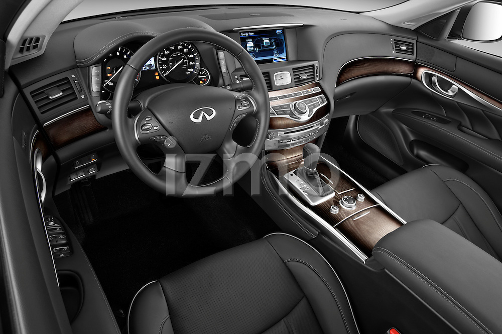 Driver side dashboard view of a 2012 Infiniti M Hybrid