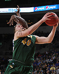 SIOUX FALLS, SD - MARCH 7:  Dexter Werner #40 of North Dakota State gets fouled on the way to the basket by Brent Calhoun #45 of Fort Wayne in the 2016 Summit League Tournament. (Photo by Dick Carlson/Inertia)