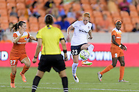 Houston, TX - Thursday Aug. 18, 2016: Caity Heap, Victoria Huster during a regular season National Women's Soccer League (NWSL) match between the Houston Dash and the Washington Spirit at BBVA Compass Stadium.