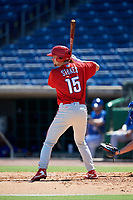 Philadelphia Phillies first baseman Madison Stokes (15) at bat during a Florida Instructional League game against the Toronto Blue Jays on September 24, 2018 at Spectrum Field in Clearwater, Florida.  (Mike Janes/Four Seam Images)