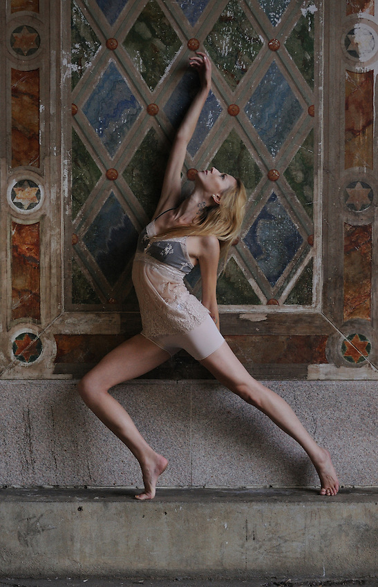 Gregory Holmgren Photography dance, movement project, model, dancer Julie Justine at Bethesda Terrace, Central Park, New York, New York, September 10, 2012.
