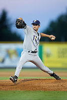 Princeton Rays relief pitcher Alex Estrella (14) in action against the Burlington Royals at Burlington Athletic Stadium on August 12, 2016 in Burlington, North Carolina.  The Royals defeated the Rays 9-5.  (Brian Westerholt/Four Seam Images)