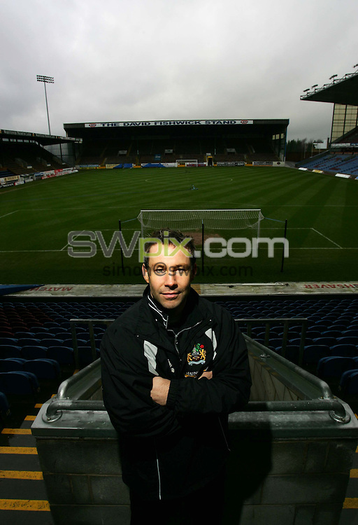 Pix by BEN DUFFY/SWpix.com -Football Feature - Danny Coyne....21/12/05..Picture Copyright >> Simon Wilkinson >> 07811267706..Burnley's injured goal keeper, Danny Coyne pictured at the clubs Turf Moor ground, Burnley