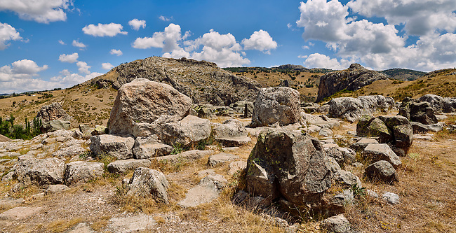 Ruins of walls of Temple I, Hattusa (also Ḫattuša or Hattusas) late Anatolian Bronze Age capital of the Hittite Empire. Hittite archaeological site and ruins, Boğazkale, Turkey.