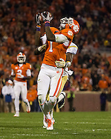 The eighth ranked Clemson Tigers defeat the Georgia Tech Yellow Jackets at Death Valley 55-31 in an ACC matchup.  Clemson Tigers wide receiver Martavis Bryant (1) makes a  catch over Georgia Tech Yellow Jackets defensive back Jemea Thomas (14)