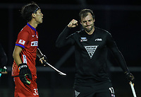 Nic Woods celebrates a goal during the International Hockey match between the Blacksticks Men and Japan, TET Multisport Centre, Stratford, New Zealand. Thursday 10 October 2019. Photo: Simon Watts/www.bwmedia.co.nz/HockeyNZ