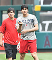 MLB: Shohei Ohtani of Los Angeles Angels practices before game against Toronto Blue Jays