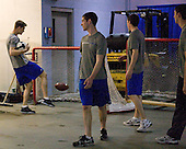 The Air Force Academy Falcons hung out in the zamboni area on Friday morning, March 25, 2011, during the East Regional at Webster Bank Arena at Harbor Yard in Bridgeport, Connecticut.
