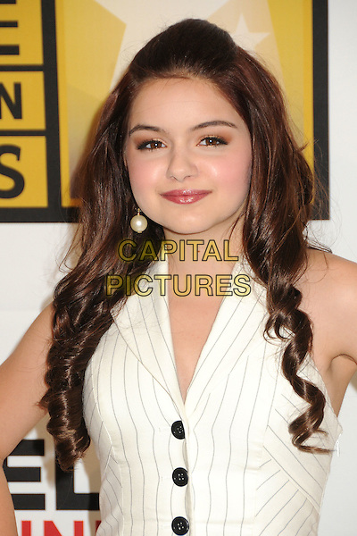 Ariel Winter.1st Annual Critics' Choice Television Awards held at The Beverly Hills Hotel, Beverly Hills, California, USA, .20th June 2011..portrait headshot white halterneck pinstripe catsuit pantsuit jumpsuit buttons waistcoat  pearl earring  .CAP/ADM/BP.©Byron Purvis/AdMedia/Capital Pictures.