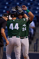 Daytona Tortugas Hendrik Clementina (24) congratulates Bruce Yari (44) at home after hitting a home run during a Florida State League game against the Tampa Tarpons on May 17, 2019 at George M. Steinbrenner Field in Tampa, Florida.  Daytona defeated Tampa 8-6.  (Mike Janes/Four Seam Images)