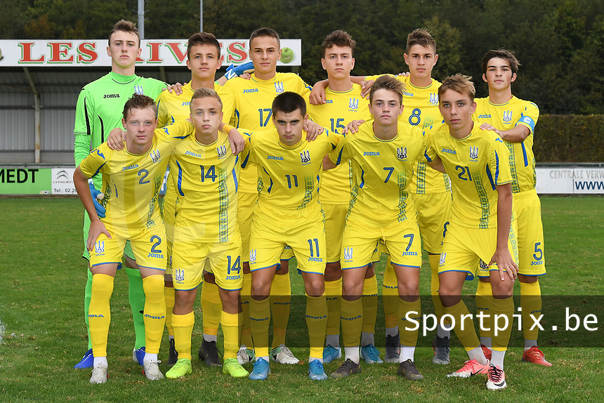 20190927 - WOLVERTEM , BELGIUM : Ukraine's team with Yurii Volodymyr Hereta (12)   Andrii Buleza (5)   Denys Pachapskyi (9)   Yehor Yarmoliuk (8)   Oleh Pushkarov (7)   Arsenii Filatov (17)   Vladyslav Yeremenko (15)   Anton Tsarenko (14)   Ivan Borysenko (11)   Anton Hlushenko (21)   Oleh Chuiko (2) pictured during the friendly  soccer match between  under 16 teams of  Belgium and Ukraine , in Wolvertem , Belgium . Thursday 26 th September 2019 . PHOTO SPORTPIX.BE / DIRK VUYLSTEKE