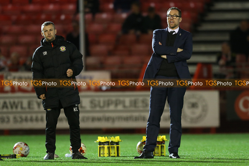 Crewe Alexandra manager David Artell overseeing the warm up during Crawley Town vs Crewe Alexandra, Sky Bet EFL League 2 Football at Broadfield Stadium on 14th March 2017