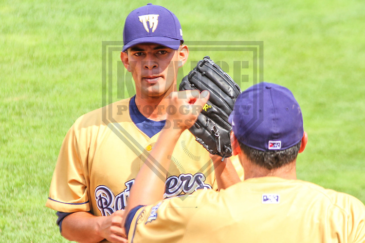 APPLETON - August 2014: Victor Diaz (30) of the Wisconsin Timber Rattlers during a game against the Peoria Chiefs on August 3rd, 2014 at Fox Cities Stadium in Appleton, Wisconsin.  (Photo Credit: Brad Krause)