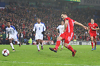 Sam Vokes of Wales takes a penalty during the International Friendly match between Wales and Panama at The Cardiff City Stadium, Wales, UK. Tuesday 14 November 2017