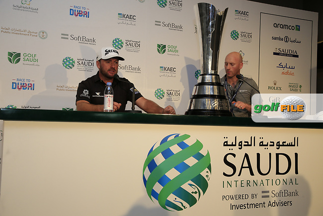 Graeme McDowell (NIR) speaking to the media after the final round of  the Saudi International powered by Softbank Investment Advisers, Royal Greens G&CC, King Abdullah Economic City,  Saudi Arabia. 02/02/2020<br /> Picture: Golffile | Fran Caffrey<br /> <br /> <br /> All photo usage must carry mandatory copyright credit (© Golffile | Fran Caffrey)