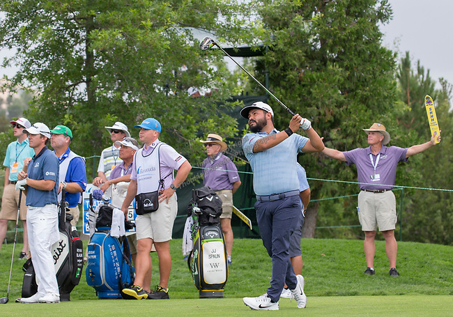 J.J. Spaun hits a drive during the Barracuda Championship PGA golf tournament at Montrêux Golf and Country Club in Reno, Nevada on Friday, July 26, 2019.