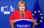 BRUSSELS - BELGIUM - 21 January 2015 -- Erna SOLBERG, Prime Minister of Norway at the press conference while visiting the President of the European Commission. -- Photo: Juha ROININEN / EUP-IMAGES / Prime Ministers Office
