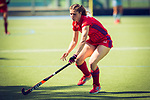 GER - Mannheim, Germany, May 05: During the women field hockey 1. Bundesliga match between Mannheimer HC (red) and Uhlenhorster HC Hamburg (light blue) on May 5, 2018 at Am Neckarkanal in Mannheim, Germany. Final score 1-3. (Photo by Dirk Markgraf / www.265-images.com) *** Local caption *** Merle Knobloch #22 of Mannheimer HC