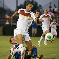 Winthrop University Eagles vs the Brevard College Tornados at Eagle's Field in Rock Hill, SC.  The Eagles beat the Tornados 6-0.  Hard tackle on Achille Obougou (7) from behind.