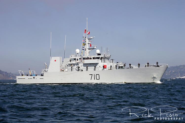 Canadian Kingston-class coastal defence vessel HMCS Brandon (MM 710) on San Francisco Bay.