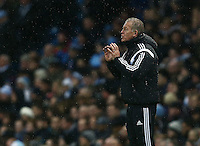 Swansea City caretaker manager Alan Curtis issues instructions during the Barclays Premier League match between Manchester City and Swansea City played at the Etihad Stadium, Manchester on December 12th 2015