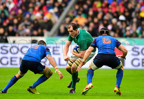 13.02.2016. Stade de France, Paris, France. 6 Nations Rugby international. France versus Ireland.  Devin Toner ( Ireland ) runs into the cover from Damien Chouly ( France ) and Wenceslas Lauret ( France )