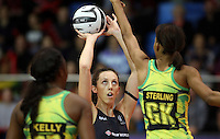 11.09.2016 Silver Ferns Bailey Mes and Jamacia's Shamera Sterling in action during the Taini Jamison netball match between the Silver Ferns and Jamaica played at Trafalgar Centre in Nelson. Mandatory Photo Credit ©Michael Bradley.