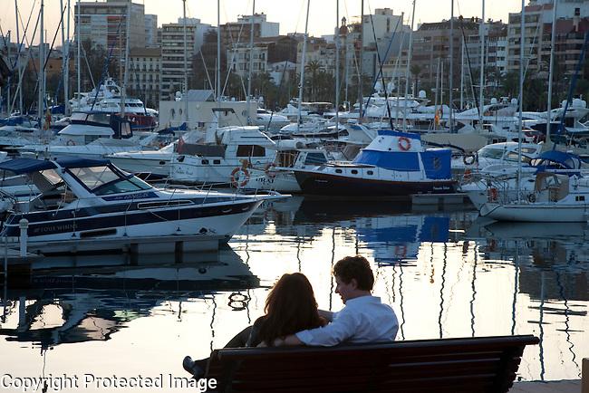 Romantic Couple in Alicante Port, Spain
