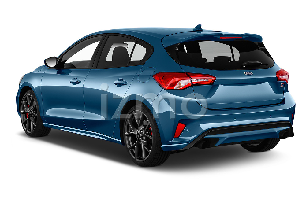 Car pictures of rear three quarter view of a 2019 Ford Focus ST Base 5 Door Hatchback angular rear