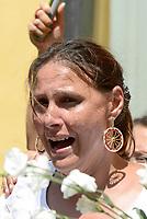 Roma, 2 Agosto 2018<br /> Dijana Pavlović attrice rom serba e attivista per i diritti umani <br /> Manifestazione davanti il Parlamento delle comunità Sinti e Rom per protestare contro intolleranza e discriminazione e per ricordare la strage nazista del 2 Agosto 1944