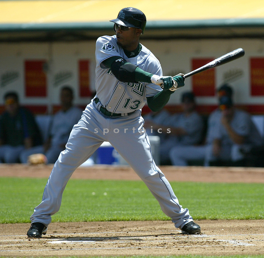 CARL CRAWFORD, of the Tampa Bay Devil Rays , in action during the  Devil Rays game against the Oakland A's  on April 28, 2007 in Oakland, California..A's win 12-5...Rob Holt/ SportPics..