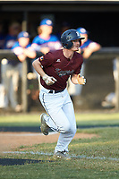 Luke Nelson of Kannapolis Post 115 hustles down the first base line against Mooresville Post 66 during an American Legion baseball game at Northwest Cabarrus High School on May 30, 2019 in Concord, North Carolina. Mooresville Post 66 defeated Kannapolis Post 115 4-3. (Brian Westerholt/Four Seam Images)
