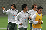 Mexico national soccer team players Francisco Kikin Fonseca (L-R), Gonzalo Pineda, Gerardo Torrado and Israel Lopez train during a training session at the Centro Pegaso training center, March 27, 2006. Photo by Javier Rodriguez